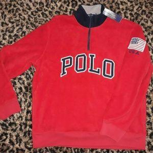 Ralph Lauren Polo Mens USA Zip Neck Sweatshirt L